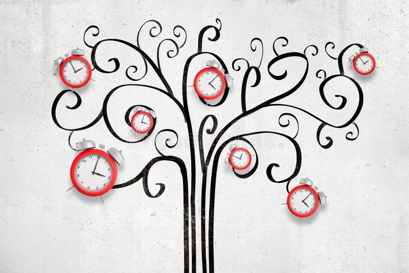 3d rendering of black cartoon tree drawn on white wall background with red alarm clocks hanging on it vector illustration