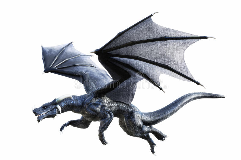 3D rendering of a black fantasy dragon flying isolated on white. Background stock illustration
