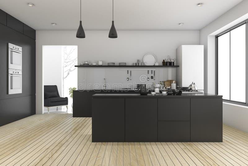 Attirant Download 3d Rendering Black Minimal Kitchen Near Living Room Stock  Illustration   Illustration Of Kitchen,