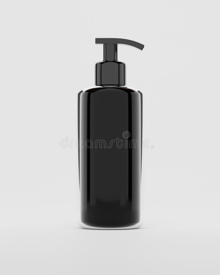 3d rendering Black plastic bottle with shampoo pumps isolated on white background royalty free illustration