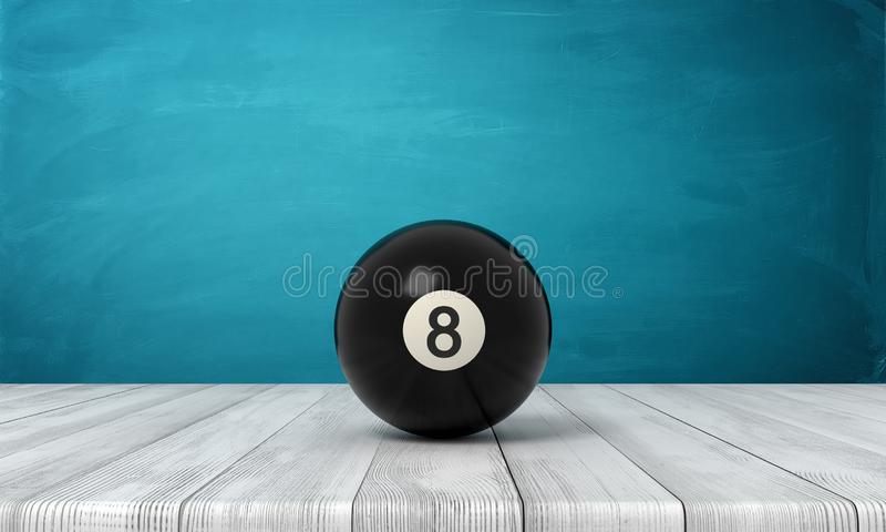3d rendering of black pool and billiard ball on white wooden floor and dark turquoise background vector illustration