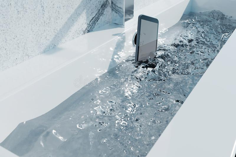 3d rendering of black smartphone falling into washbasin and spar stock illustration