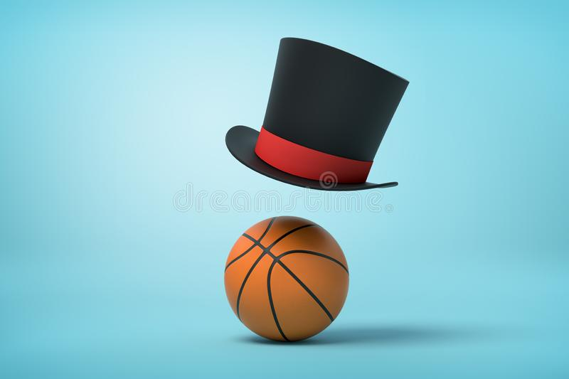 3d rendering of black top hat over orange basketball ball on blue background royalty free stock images