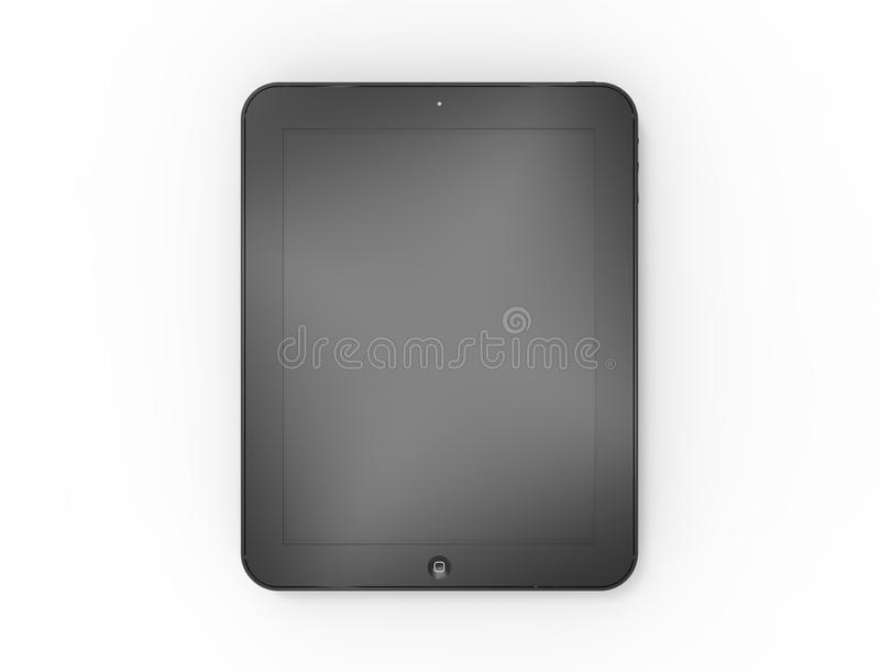 3D rendering of a black touch screen tablet isolated on white background royalty free illustration