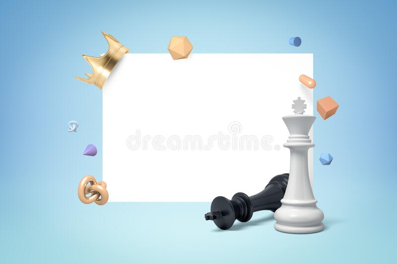 3d rendering of black and white chess kings with random objects on blue white background. Chess pieces. Board games. Strategy games royalty free stock images