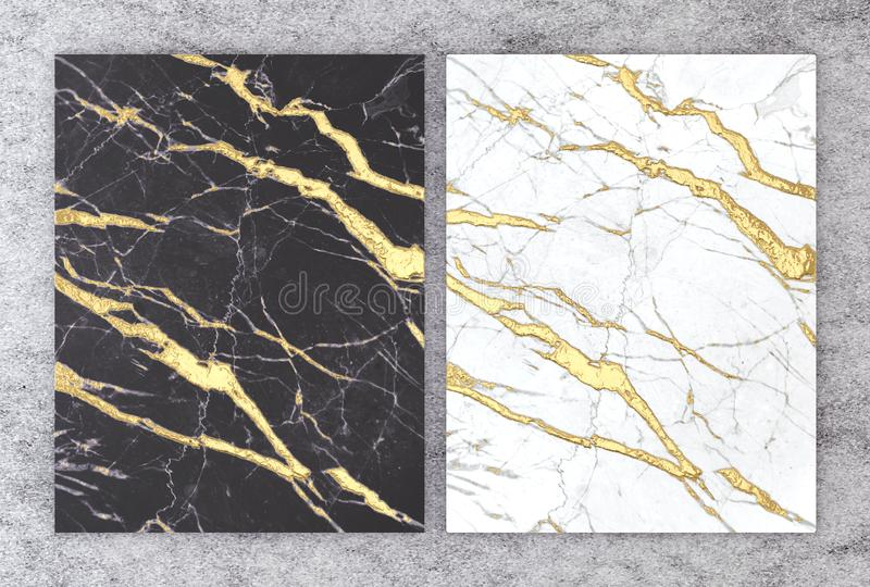 3D rendering of black and white marble with golden foil for wedding and greeting invitation card or your project interior design royalty free illustration