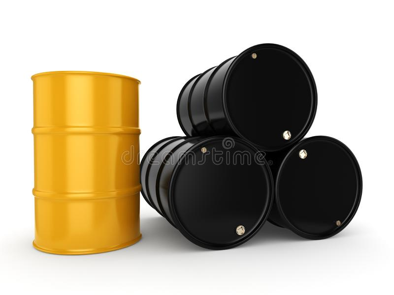 3D rendering black and yellow barrels. Not contain any inscriptions royalty free illustration