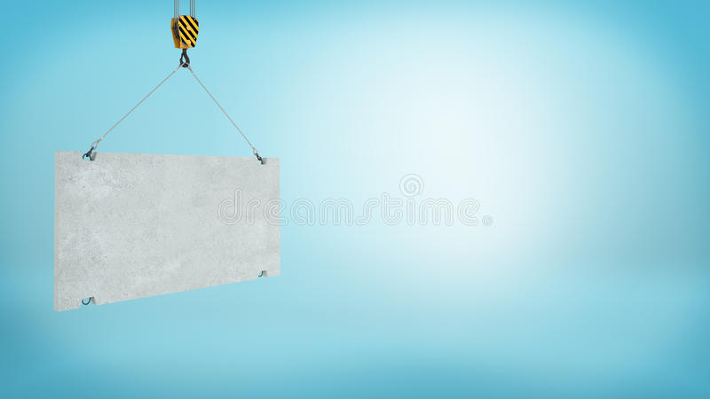 3d rendering of a blank grey concrete block caught on a construction crane hook on blue background. Building and construction works. Advertising. Build city royalty free illustration