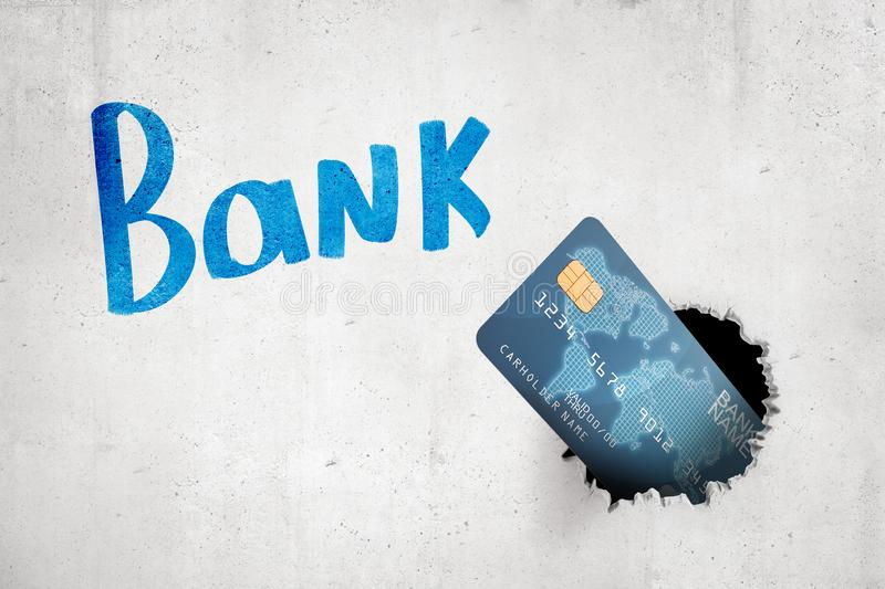 3d rendering of blue bank card breaking white wall with `Bank` sign on the background stock photos