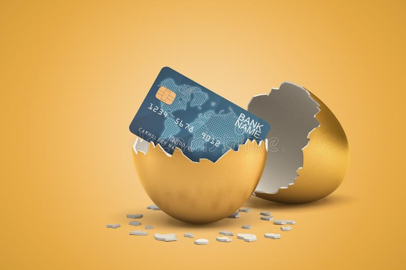 3d rendering of blue bank card hatching out of golden egg on yellow background royalty free illustration