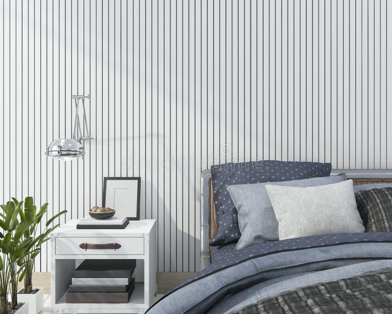 Download 3d Rendering Blue Close Up Scandinavian Bedroom Stock Illustration