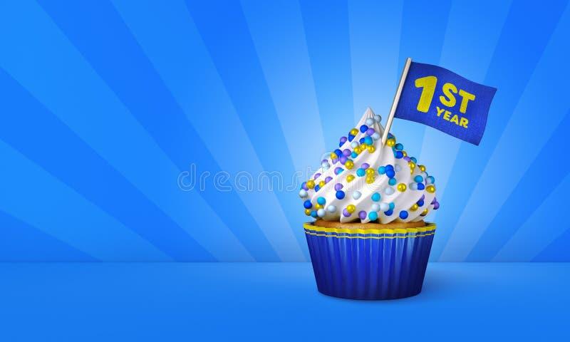 3D Rendering of Blue Cupcake, Yellow Stripes around Cupcake stock illustration