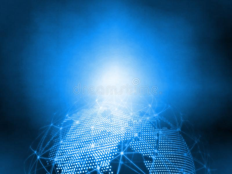 3D Rendering blue dotted world and abstract wired global network background. For telecom, communication stock photo