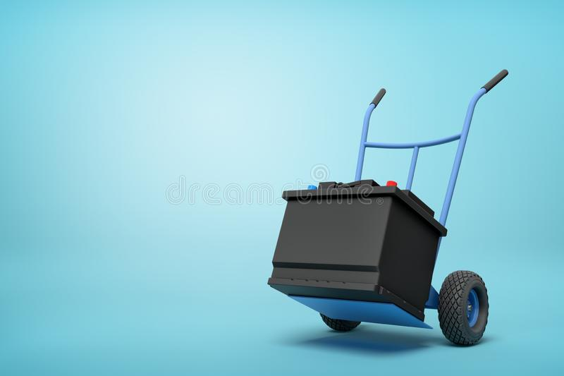 3d rendering of blue hand truck with black accumulator box on top on light-blue background with copy space. Energy storage devices. Car maintenance. Car stock illustration