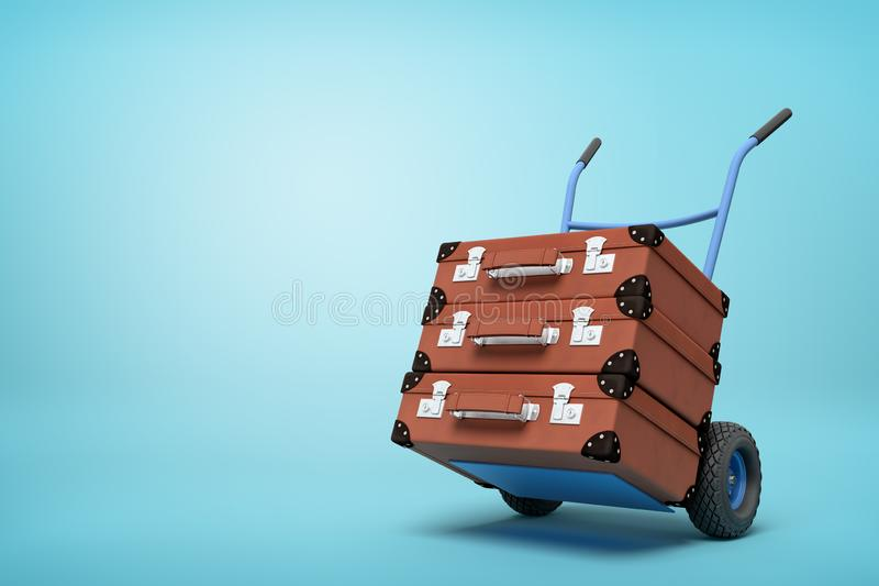 3d rendering of blue hand truck with stack of three brown suitcases on top on light-blue background with copy space. royalty free illustration