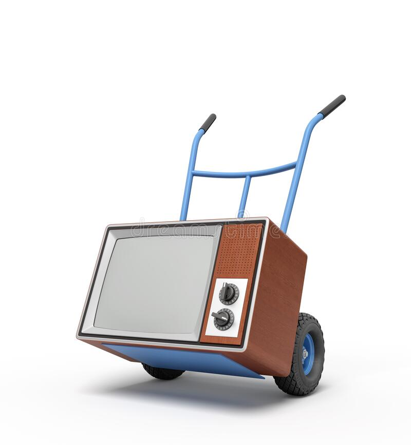 3d rendering of blue hand truck standing in half-turn with brown retro TV set on it. royalty free illustration