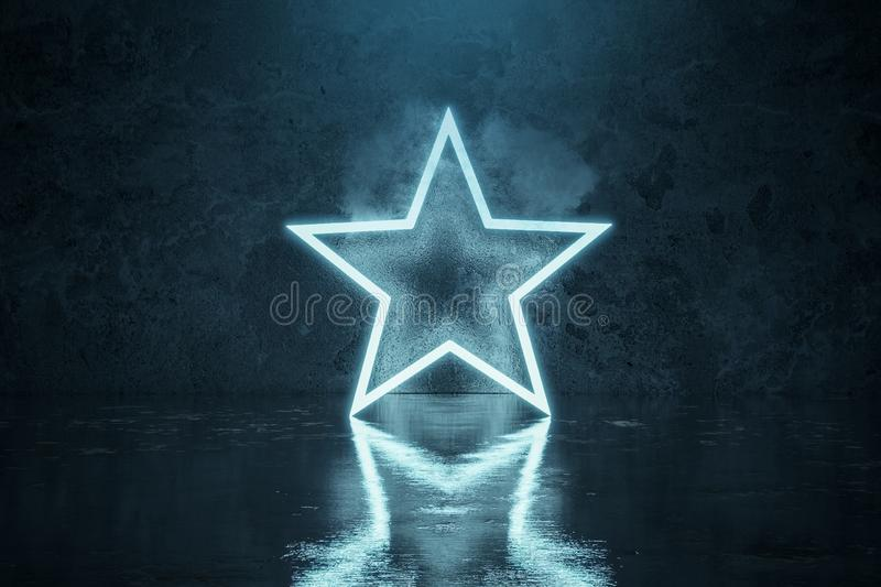 3d rendering of blue lighten star shape with light spot in front of grunge wall background with wet glossy floor vector illustration