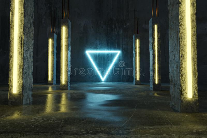 3d rendering of blue lighten triangle shape next by concrete pillars and grunge floor with puddles.  stock photos