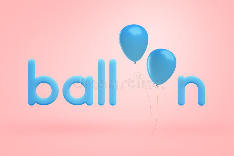 3d rendering of blue lowercase letters making up the word `balloon` with two blue balloons instead of letters O on a. Light-pink background. Holidays and royalty free illustration