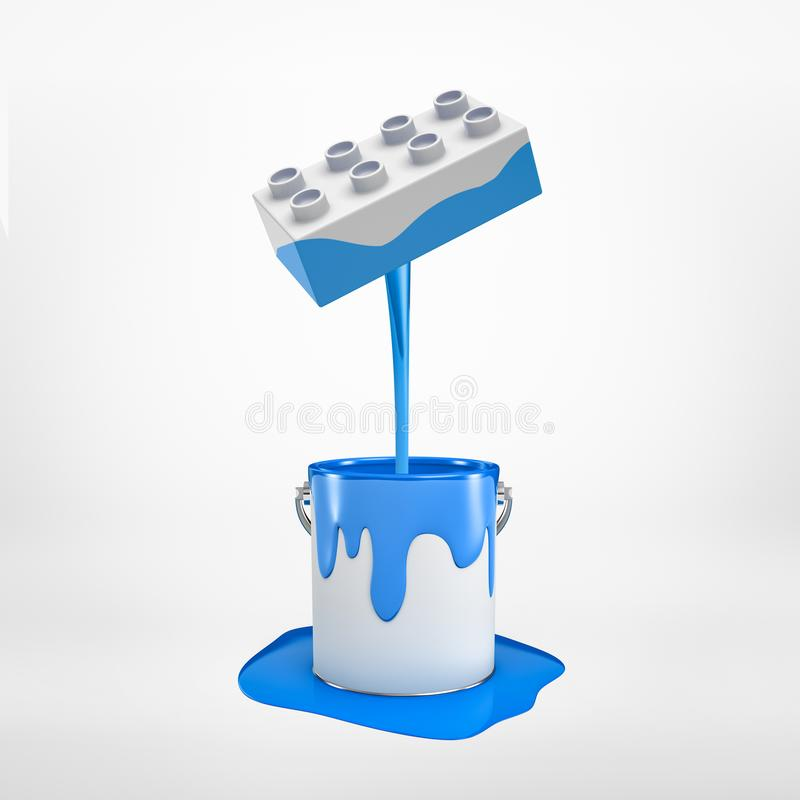 3d rendering of blue paint pouring from lego piece into silver metal paint bucket isolated on white background. Drawing and decoration. Digital art. Games and royalty free illustration
