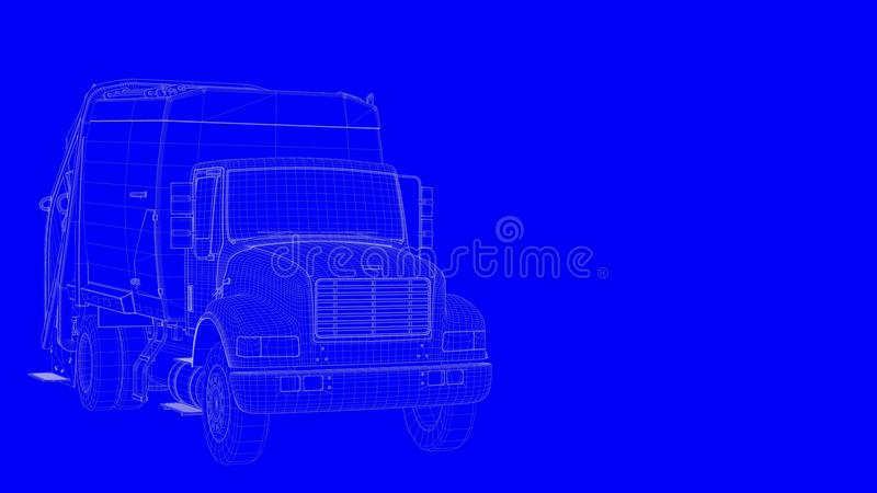 3d rendering of a blue print truck in white lines on a blue back vector illustration