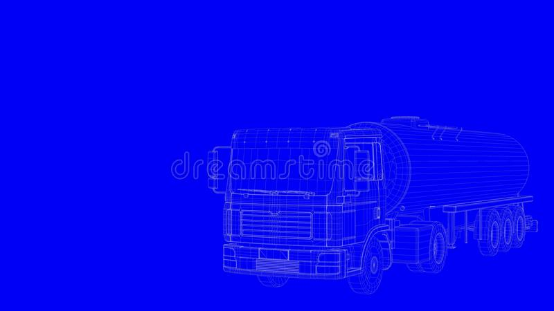 3d rendering of a blue print truck in white lines on a blue back stock illustration