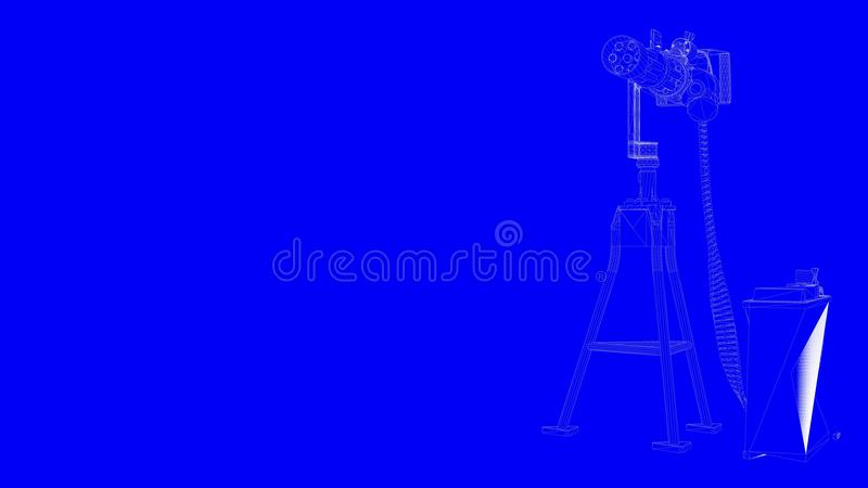 3d rendering of a blueprint shoot gun in white lines on a blue b download 3d rendering of a blueprint shoot gun in white lines on a blue b stock malvernweather Choice Image
