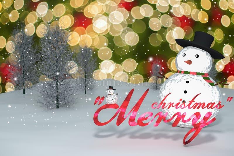 3D rendering: 2016 bożonarodzeniowe światła bokeh wesoło tekst i śnieżna mężczyzna lala na perspektywicznego snowscape bokeh iskr ilustracja wektor