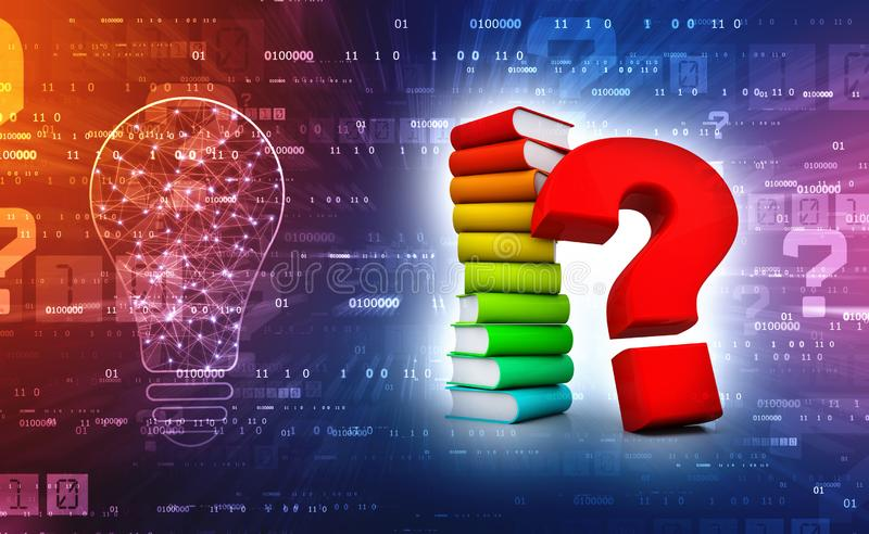 Book with Question mark in digital background. 3d render. 3d rendering Books with Question mark Symbol in technology background stock photography