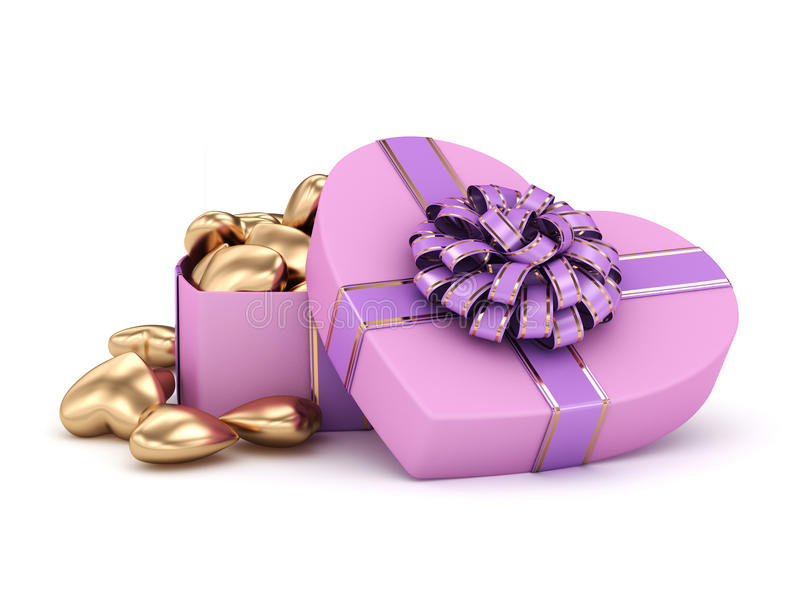 3D rendering box in heart shape. 3D rendering pink heart shaped box with ribbon and bow royalty free illustration