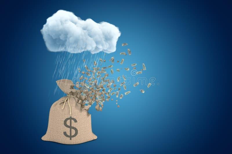 3d rendering brązu pieniądze brezentowa torba z dolarowym symbolem, dobro pod padać chmurę na błękit kopii przestrzeni tle ilustracji