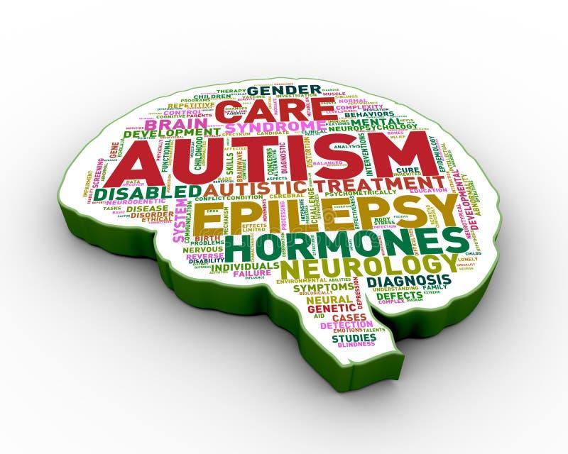 3d brain shape autism tag wordcloud. 3d rendering of brain shape tags word cloud tags of autism awareness stock illustration