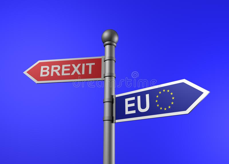3d rendering of brexit-eu guidepost. On a blue background stock illustration