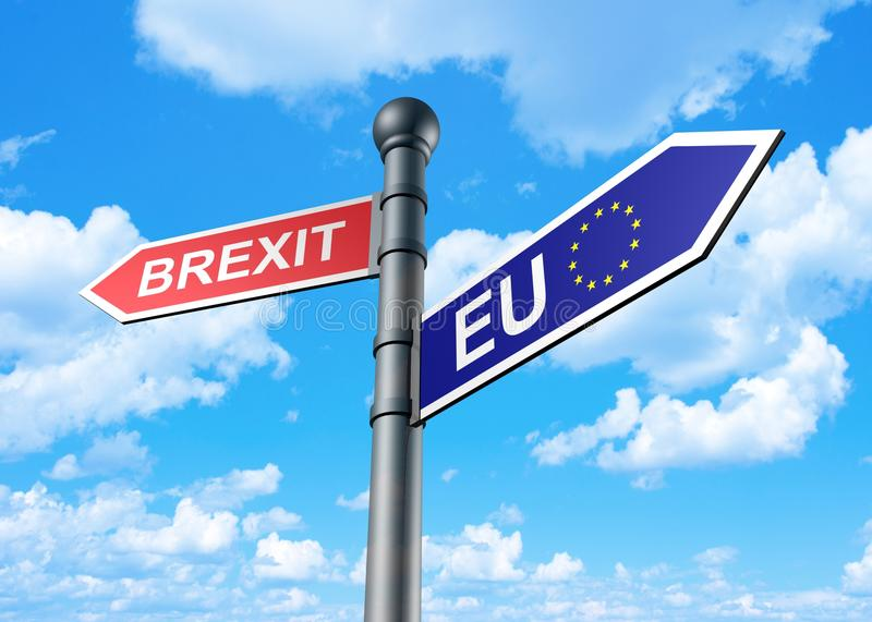 3d rendering of brexit-eu guidepost. On a sky background royalty free illustration