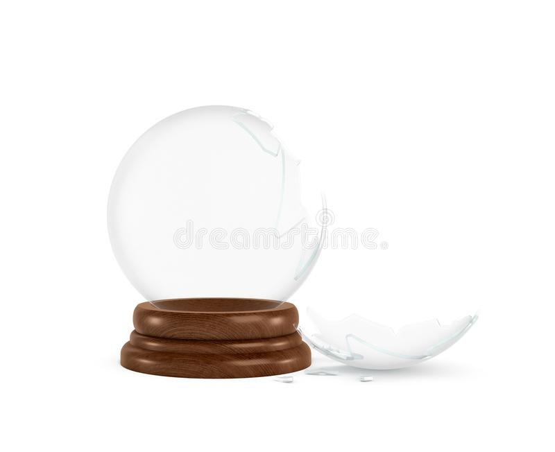 3d rendering of a broken glass sphere on a white background standing on a wooden base with nothing inside it. Keepsake template. Broken gift. Lost memories stock illustration