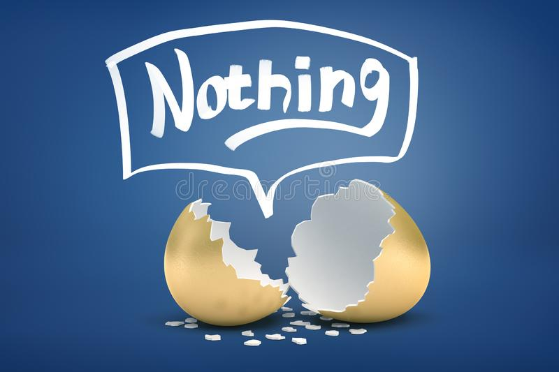 3d rendering of broken golden eggshell with the title `Nothing` above. stock illustration