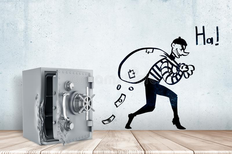 3d rendering of broken open safe vault on white wooden floor and cartoon robber with money bag and `HA` sign on white royalty free stock photography