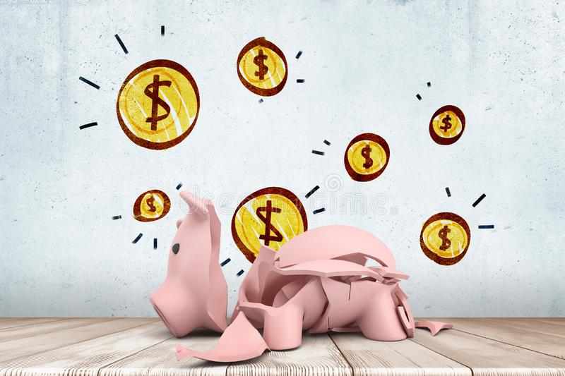 3d rendering of broken piggy bank on wooden floor against wall background with yellow coins drawn on it. stock images