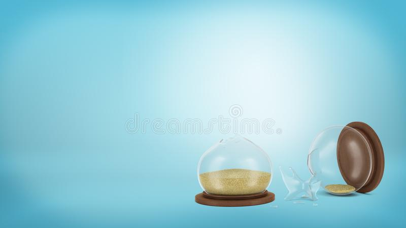 3d rendering of a broken retro hourglass lying on a blue background in halves with sand still inside. Lost time. Precious time. Life decisions stock illustration