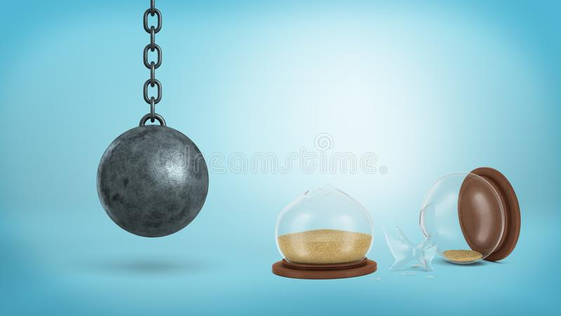 3d rendering of a broken retro hourglass lying in halves with sand still inside near a hanging wrecking ball. Time wasters. Loss of time. Schedule for success vector illustration