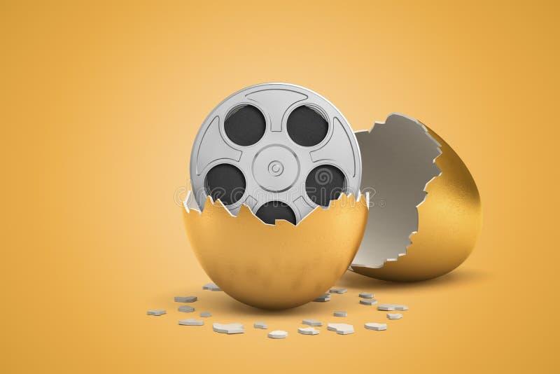 3d rendering of broken in two golden egg with retro film reel inside on light ocher background. Movie industry. Cinema news. Latest releases vector illustration