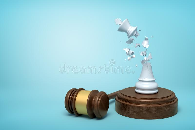 3d rendering of broken white chess king, its crumbs in air, standing on sounding block with gavel beside on light-blue vector illustration