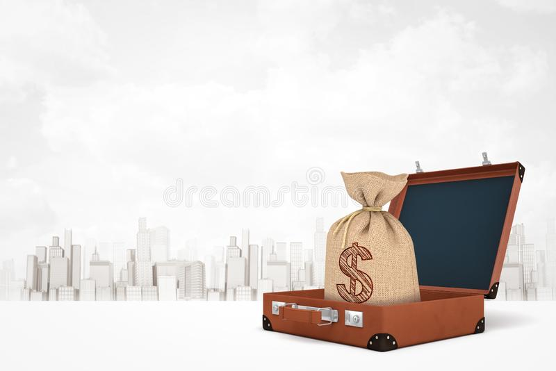 3d rendering of brown retro suitcase with money bag inside on white city skyscrapers background royalty free illustration