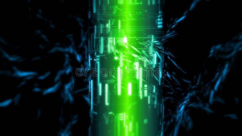 3D rendering bryła - twierdzi długotrwałego bateryjnego energetycznego pojęcie Zielony jarzyć się zaświeca z zaawansowany technic ilustracja wektor