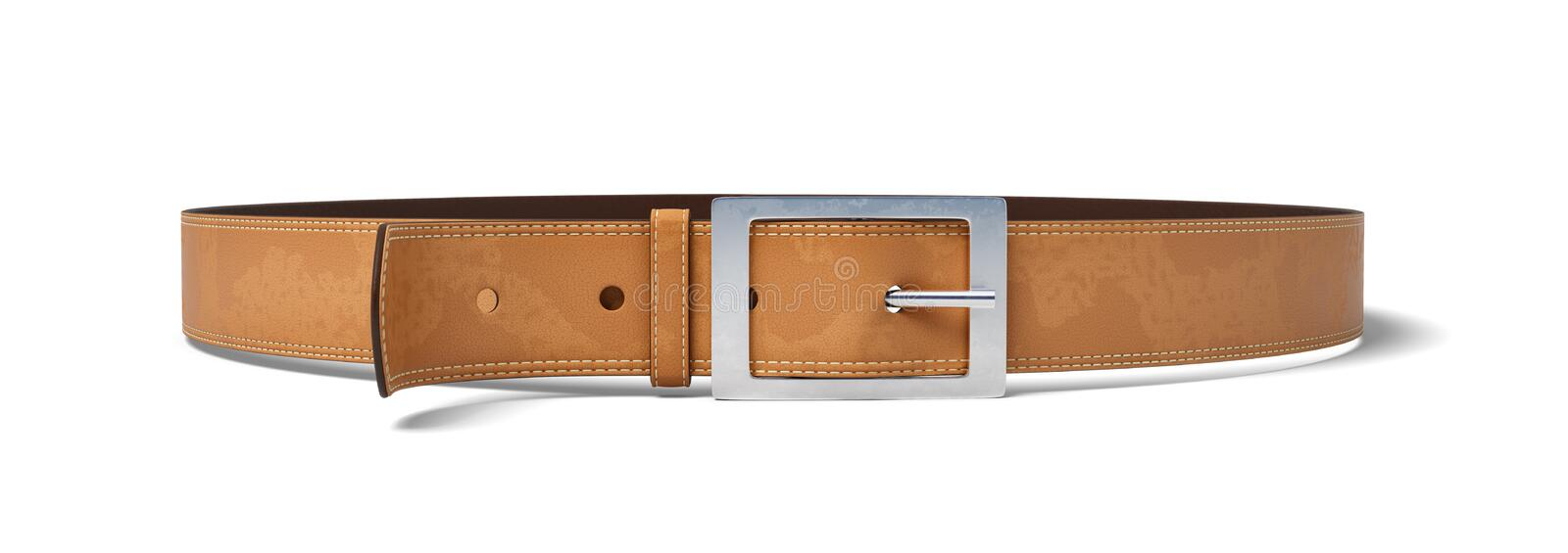 3d rendering of a buckled brown leather belt lying on a white background. stock photos