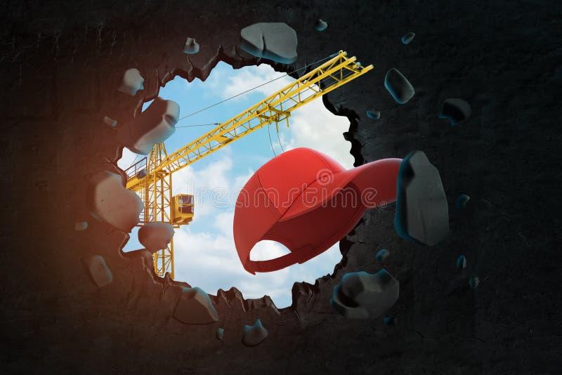 3d rendering budowa żuraw i czerwona nakrętka łama czerni ścianę ilustracji