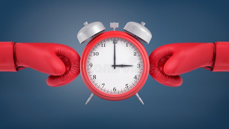 3d rendering budzika czerwoni retro stojaki między czerwonymi bokserskimi rękawiczkami otacza je od dwa stron fotografia stock