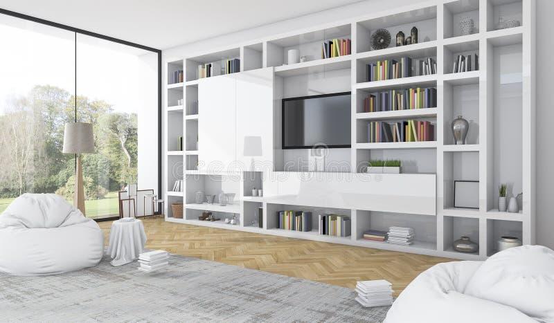 3d Rendering Built In White Shelf With Bean Bag In Modern White ...