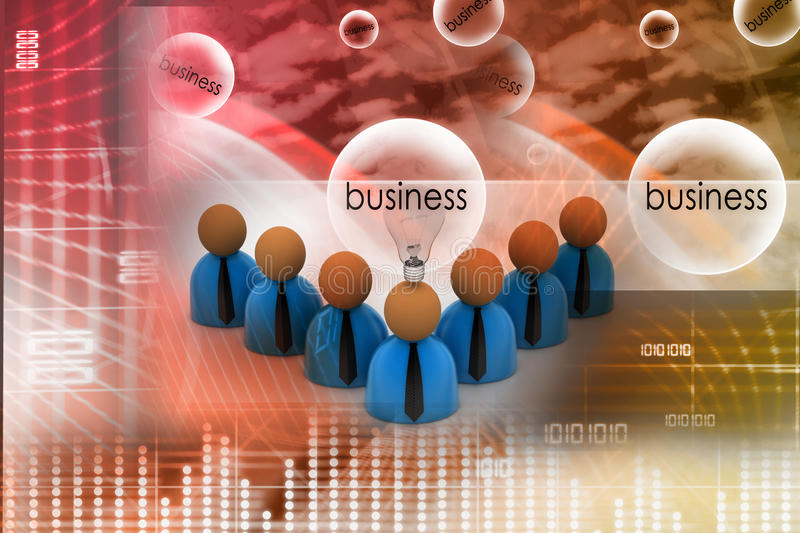 3d Rendering Business Man Icon With Bulb Stock Illustration
