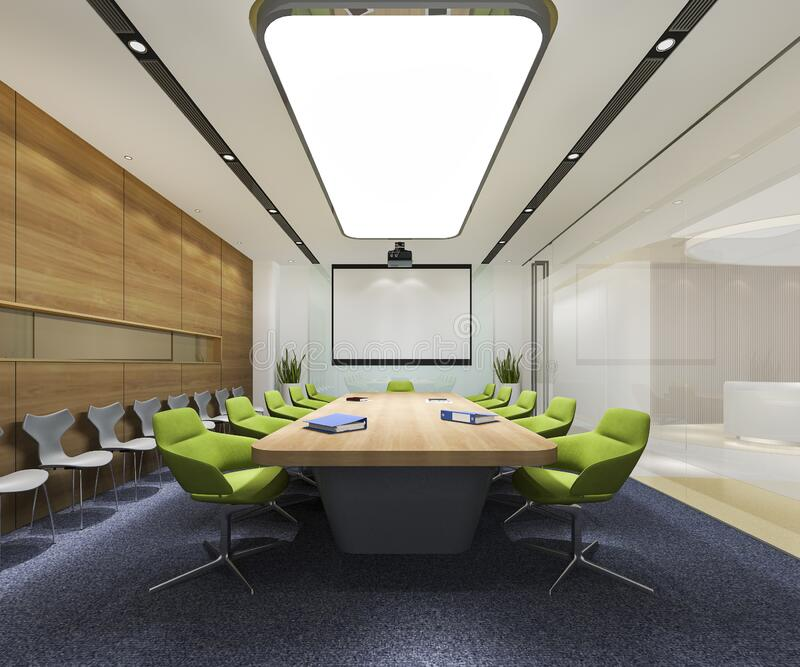 3d Rendering Business Meeting Room On High Rise Office
